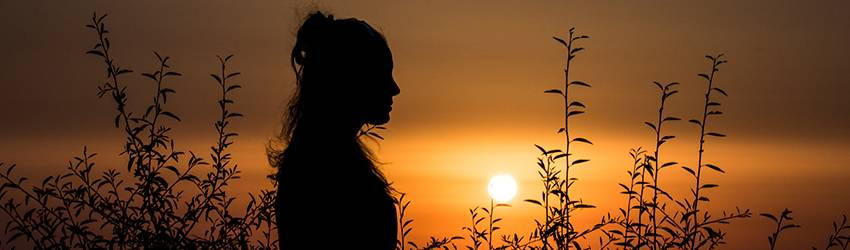 A silhouette of a woman stands in front of an orange setting sun. She is standing in a wheat field.