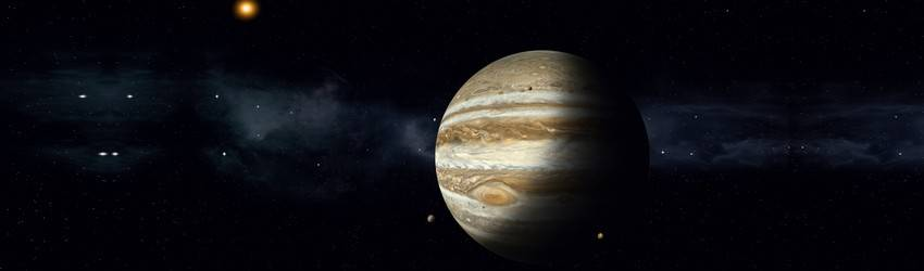 Jupiter in space next to one of its moons.