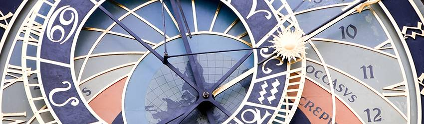 An astrology clock shows that it is Cancer season.