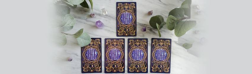 A 5 card tarot spread for a Stellium in Virgo shown on the Astrology Answers Master Tarot Deck.
