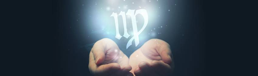 Two hands are held out and a Virgo symbol is shining above them.