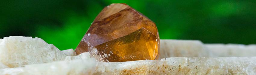 A picture of a yellowish Topaz stone with a green leafy background.