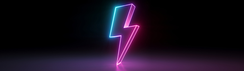 A neon lightning bolt that is pink and blue.