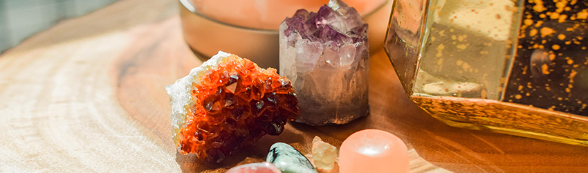 Healing crystals on a table.