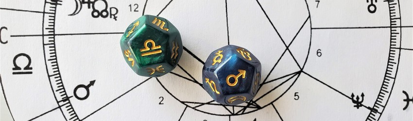 Astrology dice showing the symbols for Libra man on an astrology chart.