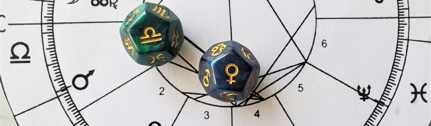 Astrology dice showing the symbols for Libra woman on an astrology chart.