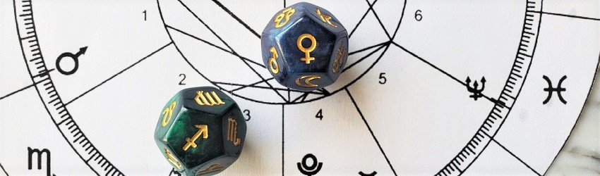Astrology dice showing the symbols for Sagittarius woman on an astrology chart.