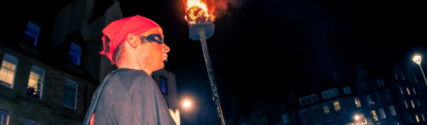 The torch barer at the Edinburgh Samhuinn Fire Festival.