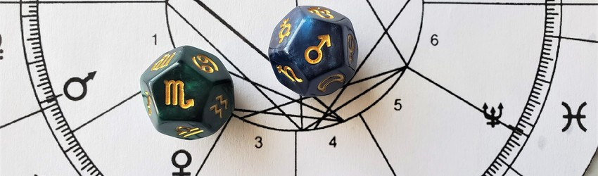 Astrology dice showing the symbols for Scorpio man on an astrology chart.