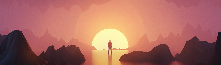 A person standing in front of a descending sun on a planet.