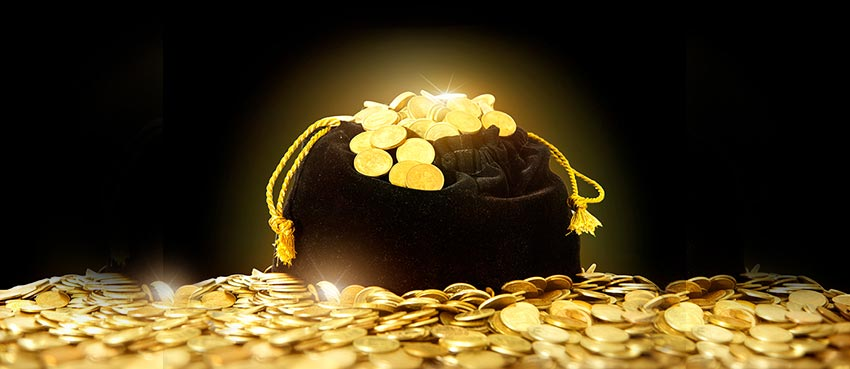 A bag of gold representing abundance.
