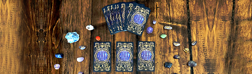 A tarot spread shown on the Astrology Answers Master Tarot deck.