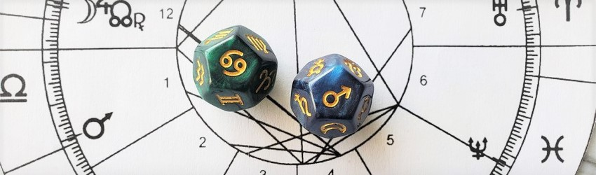 Astrology dice showing the symbols for Cancer man on an astrology chart.