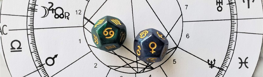 Astrology dice showing the symbols for Cancer woman on an astrology chart.