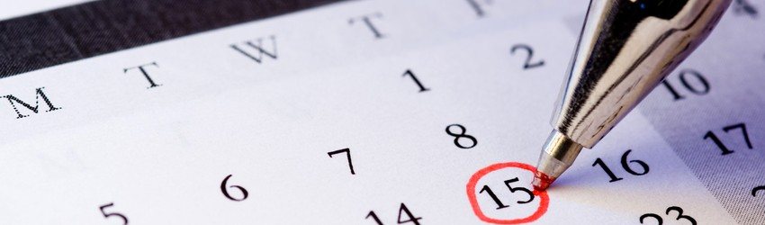 A date circled in a calendar.