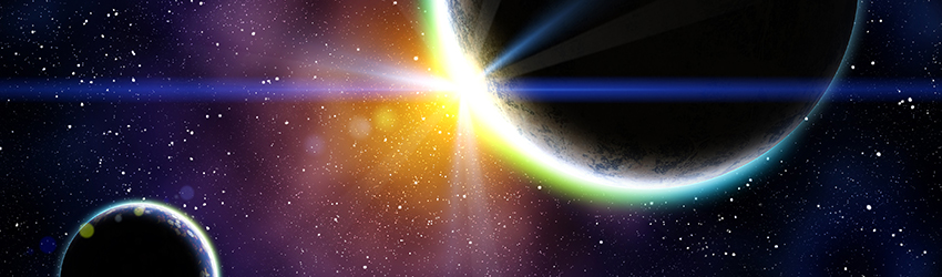 Two planets sit in space - a sun shines light off of them making them shine from behind.
