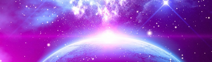 A planet in space surrounded by purple light and stars.