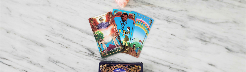 The Lovers and love based tarot cards displayed on the Astrology Answers Master Tarot Deck.