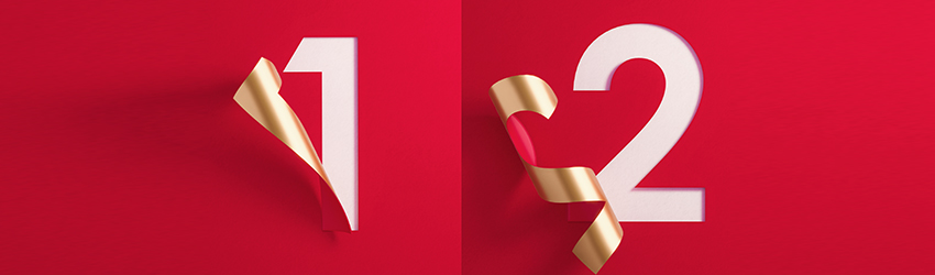Destiny numbers 1 and two. They are on red paper with a gold outline and a white fill.