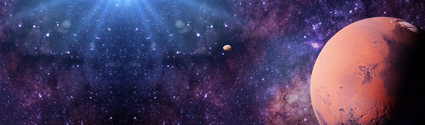 A picture of Mars sits on the left of the frame, the planet is surrounded in a purple astrology space background.