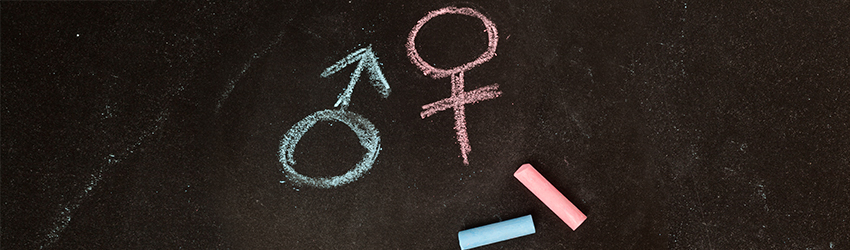 The male and female symbol written in blue and pink chalk, respectively.