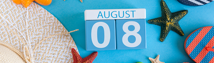 Calendar blocks read August 8th representing the 8th month and the 8th day or 8 in Numerology.