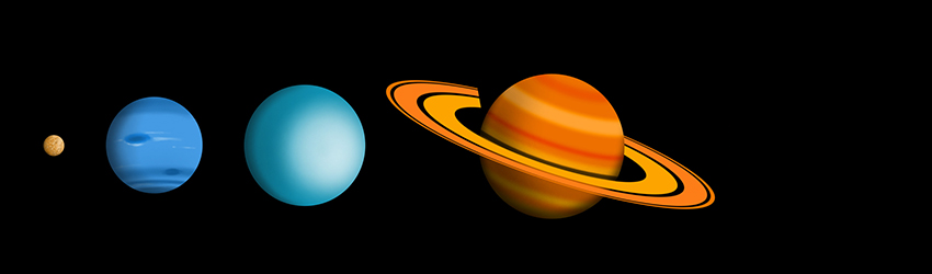 The outer planets in space: Saturn, Uranus, Neptune, and Pluto computer generated on a black background.