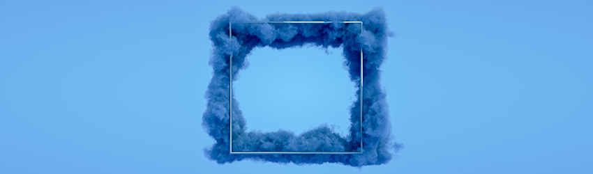 A frame surrounded by blue clouds.