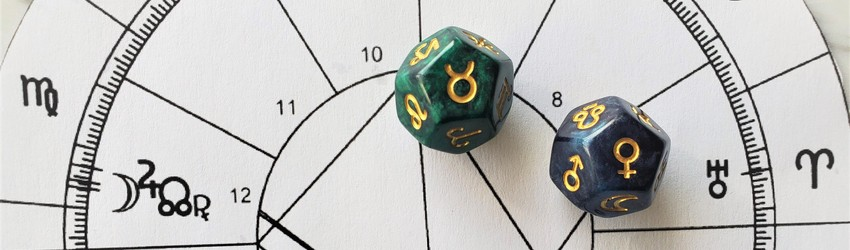 Astrology dice showing the symbols for Taurus woman on an astrology chart.