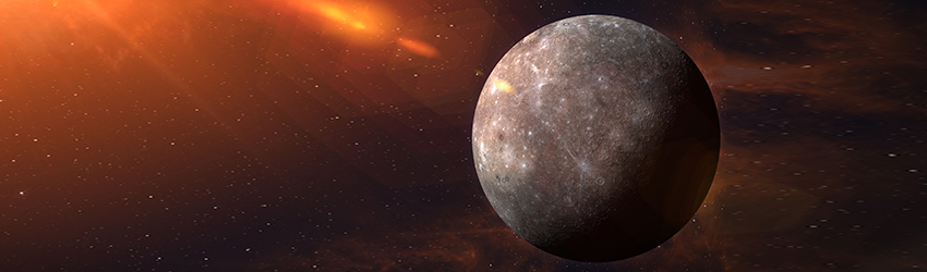 The planet Mercury in the dark expanse of space, surrounded by red solar flares and stars.