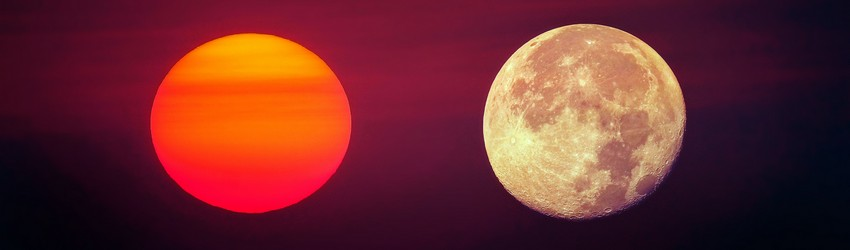 A red sun and a moon oppose each other representing the south and north node in your birth chart.