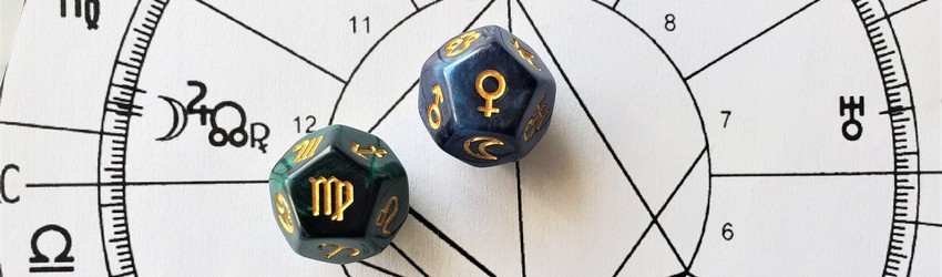 Astrology dice showing the symbols for Virgo woman on an astrology chart.