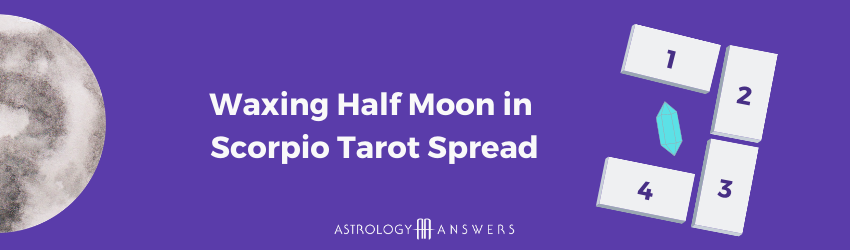 Waxing moon in Scorpio tarot graphic from Astrology Answers.
