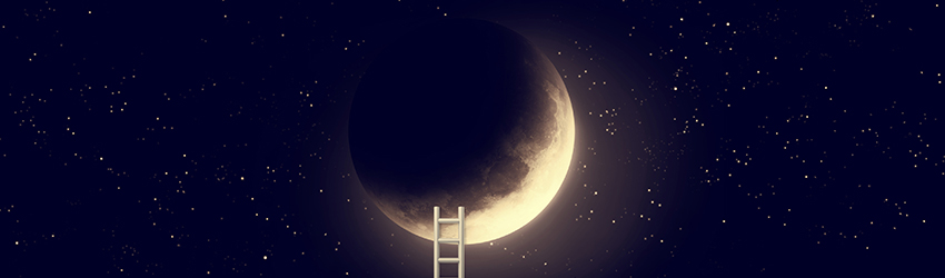 Someone has put a ladder to the moon in the sky.