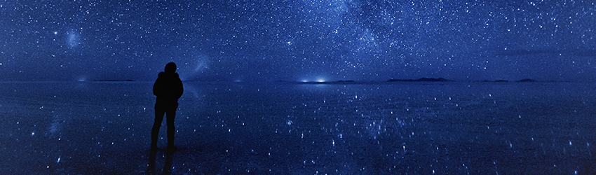 A silhouetted person stands in a dark blue galaxy scene next to a lake surrounded by stars.