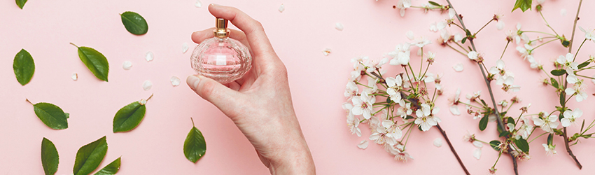 A hand holding a perfume bottle with flowers around it.