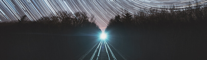 A train coming on the horizon.